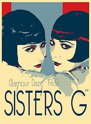 Gatsby sisters G Vintage Art Print Deco poster twin glamour daze for glass frame