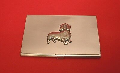 Dachshund Dog Pewter Motif Chrome Plated Card Holder Mum Dad Useful Gift NEW