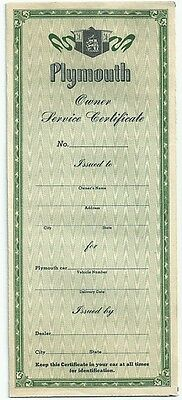 1940's Original Unused Plymouth Owner Service Certificate