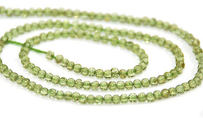 One Strand Natural Peridot Tiny Round Beads, 2 Mm, Gemstone
