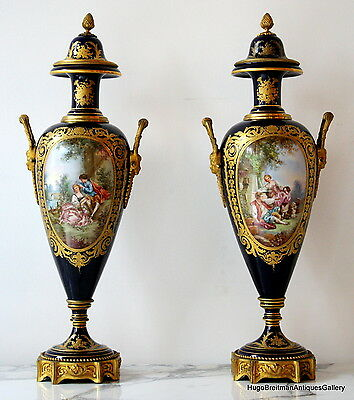Pair of Cobalt Blue Sevres Style Urns