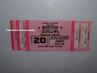 BOSTON / OUTLAWS Unused 1977 Concert Ticket FRESNO SELLAND ARENA Rare BRAD DELP