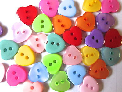 30  60 or 90 Resin Heart  Buttons  scrapbooking embellishment choice of colour