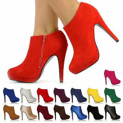 NEW FASHION PLATFORM HIGH HEELS LADIES WOMEN CASUAL ANKLE BOOTS SIZE 3 -8