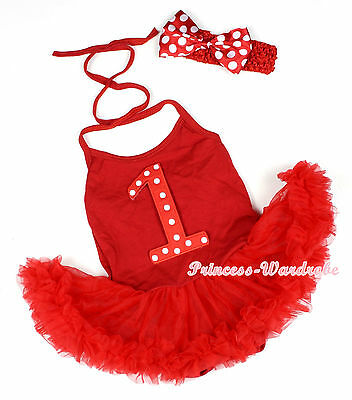 XMAS Hot Red White Dots 1 ST Birthday Halterneck Jumpsuit Red Baby Dress NB-2Y