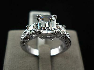 18K White Gold Plated Emerald Cut Classic AAA CZ Engagement Dress Ring Brand NEW