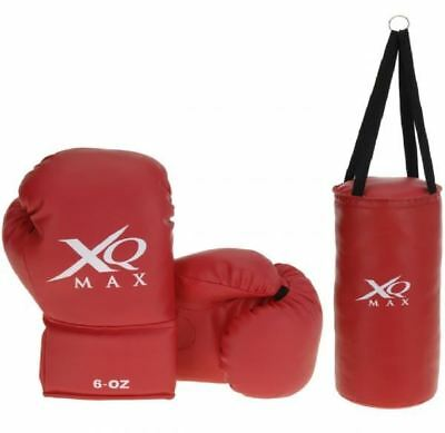 Xq Max Boys Red Kick Boxing Sparring Mma Training Set Gloves Punching Bag 556394