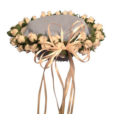 Turquoise /& white Silk Poly Rose Halo Flower Girl Head Piece Band Green Leaves
