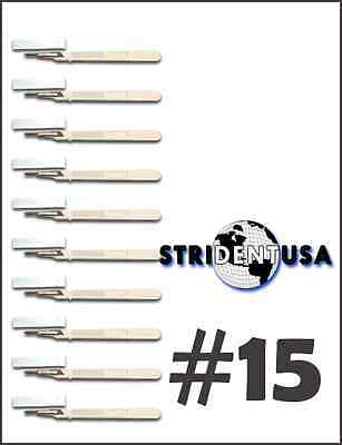 10 Disposable Scalpel #15 Sterile with Plastic Handle