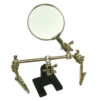 New Magnifier Magnifying Glass Clamp 3 Helping Hands Adjustable Soldering Stand