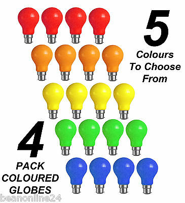 4 Pack Coloured Festoon / Party Light Globes 25W B22 - 5 Colours to Choose From