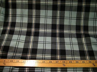 """BLACK/LIGHT BLUE/WHITE PLAID POLY RAYON FABRIC 60"""" WIDE BTY"""