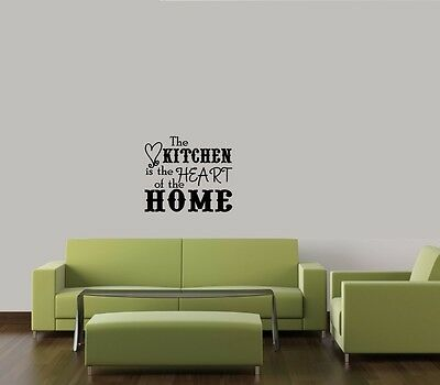 KITCHEN IS THE HEART OF HOME WORDS LETTERING VINYL DECOR DECAL WALL STICKER