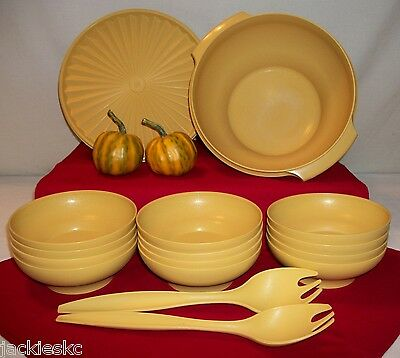 Tupperware GOLD 16pc Servalier 2c-17cup Salad Popcorn Bowls ~Serving Fork Tongs