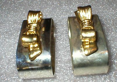NAPKIN RINGS AUDREY SILVERPLATE AND GOLD COLORED BOWS RINGS
