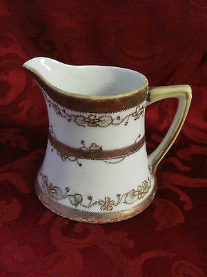 Imperial Nippon handpainted creamer pitcher gold flowers moriage