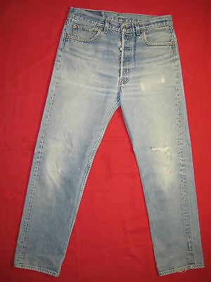 D6056 frayed holes levi's 501 blue jeans 35x34 used destructed made in the USA