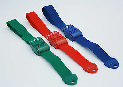 3 Tourniquet s Quick & Slow release Green, Red and Blue