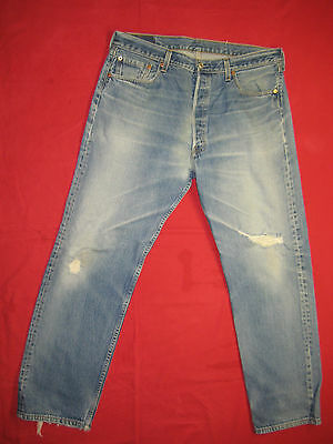 D6065 frayed holes levi's 501 blue jeans 38x32 used destructed made in the U.S.A