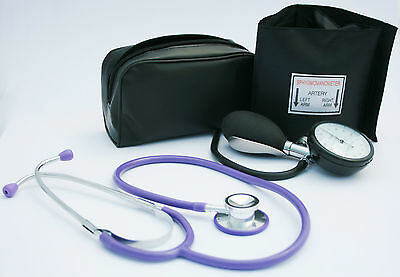 Black Aneroid Blood Pressure Monitor - Sphygmomanometer & Purple Stethoscope