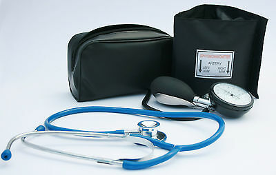 Black Aneroid Blood Pressure Monitor - Sphygmomanometer & Blue Stethoscope