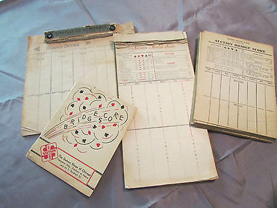 Vintage 1930's Auction Bridge  Score Pads & Cards