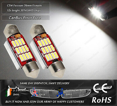 2x 36mm C5W LED CanBus No Error Free Xenon White Number Licence Plate Bulbs 12v