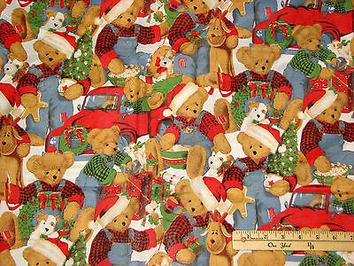 Christmas Blue Jean Teddy Bear Reindeer Cotton Fabric   by the 1/2 Yard BTHY