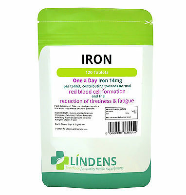 Iron Tablets 120 x 14mg, one-a-day, Energy Pregnancy Anaemic Supplement