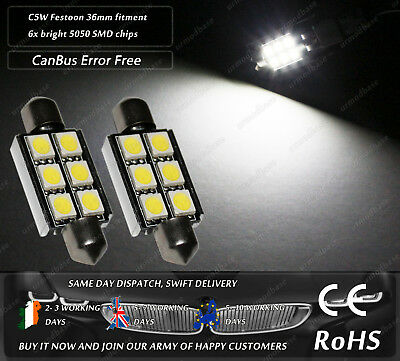 36mm LED 239 C5W Festoon CanBus No Error 6000K White Number Licence Plate Bulbs