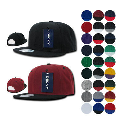 1 DOZEN Blank Flat Bill Snapback Caps Hats Solid Two Tone DECKY WHOLESALE BULK
