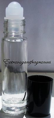 Set of 2 Glass Roll-On 1/3 oz empty fragrance perfume essential oil bottle