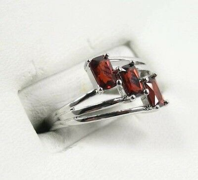 R#1805 Simulated Red Garnet Gemstone Ladies three stone silver ring size 5