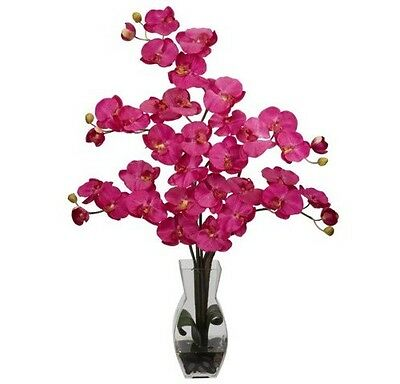Nearly Natural Beauty Pink Phalaenopsis Orchid Faux Flower Arrangement, 1191-BU
