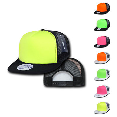 1 Dozen Decky Foam Mesh Flat Bill Neon Trucker Hats Caps Two Tone Wholesale