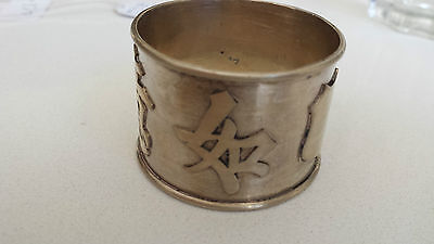 ANTIQUE Chinese Export Sterling Silver Napkin Ring