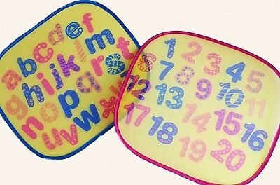 Pack Of 2 Printed Car Sun Shades Alphabet Number Sign Children Window Easy Fold