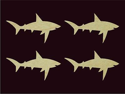 "4 pcs White Shark Shape Animal Cut Out 6.1"" Wide Sanded Finish Natural Hardwood"