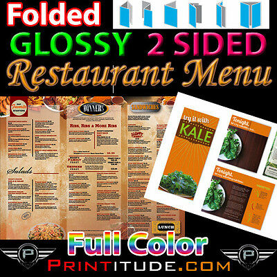 "500 Menu 8.5"" X 11"" Full Color 2 Sided 100Lb Glossy Aqueous Coated  Folded Menus"