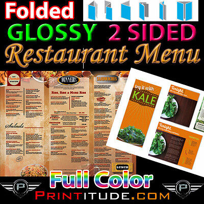 "1000 Menu 8.5"" X 14"" Full Color 2 Sided 100Lb Glossy Aqueous Coated Folded Menus"