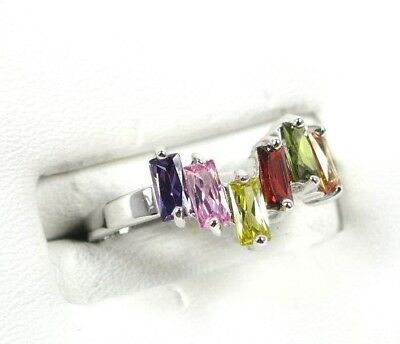 R#1608 simulated Multi-Color Gemstone ladies silver ring size 7.5