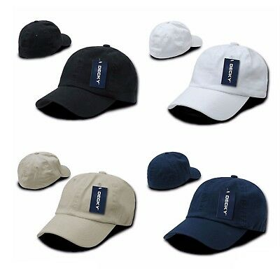 d8813dc9 DECKY WASHED COTTON Polo Style Flex Fitted Baseball Hats Caps Unisex ...