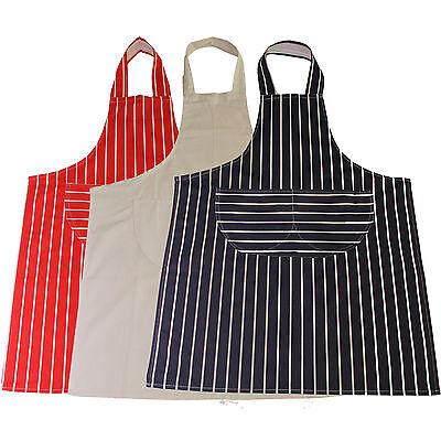 Striped Butchers Chef Cooking Kitchen Catering Apron Bib With Pocket