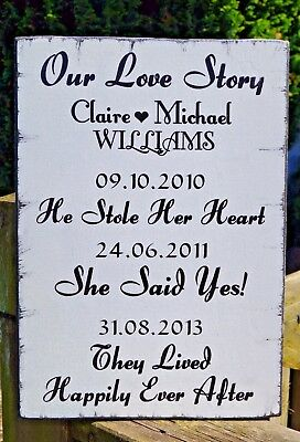 Personalised Wedding Sign Our Love Story Shabby Vintage Chic Sign Plaque