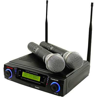 New Pyle PDWM3300 Wireless Professional UHF Dual Channel Microphone System