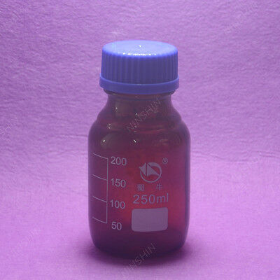 250mL Amber Brown Reagent bottle with cap autoclavable, heavy wall,lab glassware