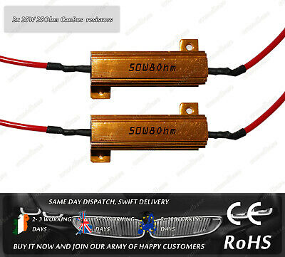2x 50w 8Ohm Load Resistor Can Bus No Error Warning Canceller Ba15s Bay15d 7443