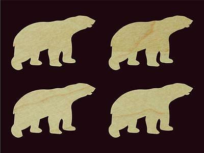 "4 pcs Polar Bear Shape Animal Cut Out 5.2"" Wide Sanded Finish Natural Hardwood"