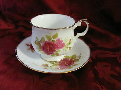 Royal Dover white cup saucer set pink roses gold trim bone china Made in England