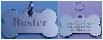 Personalised Engraved Polished Stainless Steel Pet ID Tag Cat Dog BONE SHAPE